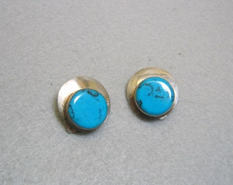 Mexican Sterling Silver and Turquoise  Vintage Clip On Earrings