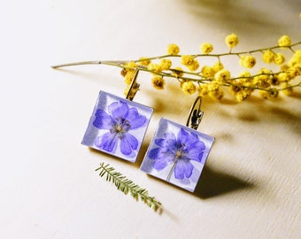 Flower earrings / nature inspired jewelry / real flower jewelry / gift for a woman/ herbarium / birthday gift / Pressed flowers/ Purple