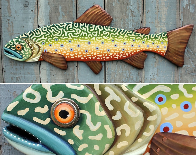 "47"" Brook Trout, Large Fish wall art, Lodge decor, wood fish sculpture, colorful folk art fish, handcrafted in Vermont, unique gift wood"