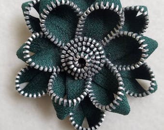 Recycled Zipper Flower Lapel Pin Brooch, green with silver teeth