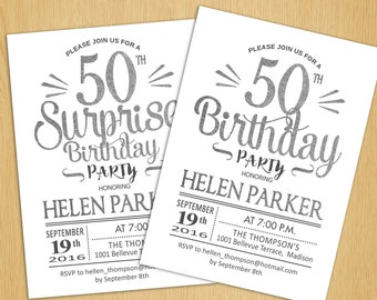 Surprise 50th Birthday Invitation / Any Age / Silver White / Printable Silver Foil Effect / Digital  Invite
