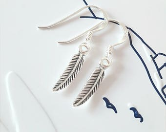 Feather Earrings, Sterling Silver Feather Earrings, Silver Feather Earrings, Silver Feather, Feather Jewelry, Feather Jewelry, Gift For Her