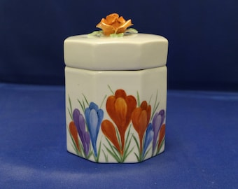 Hand painted Clarice Cliff style lidded pot