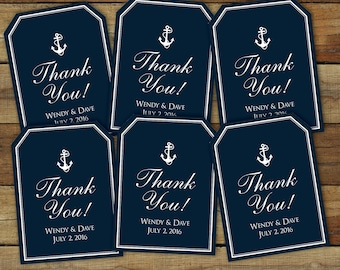 Anchor thank you tags, Nautical favor tags, printable navy thank you tags, editable pdf, instant download