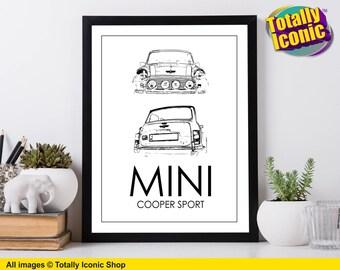 Classic Mini Cooper Sport - Black Line Drawing Design - Art Print- Mini Cooper Sport - Classic Mini Car - Austin Mini Cooper