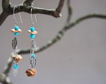 Earrings in steel stainless/dangle earrings asymmetric Cork/earrings / natural/light jewellery jewelry