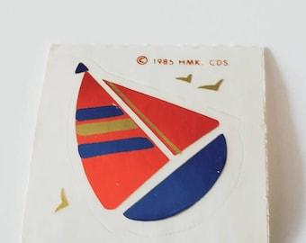Vtg Hallmark Sticker Sailboat foil 80's