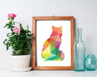 8x10 Geometric Print, Cat Art Print