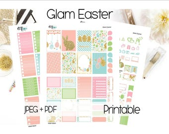Glam Easter- Happy Planner Printable Set // Printable Planner Stickers