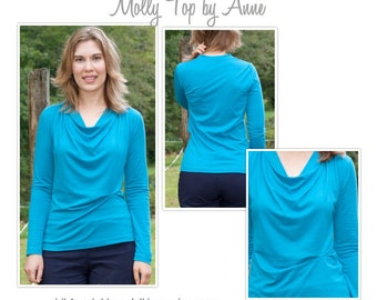 Women's Sewing Pattern - Molly Top - Sizes 8, 10, 12 - Cowl Neck Top PDF Sewing Pattern by Style Arc
