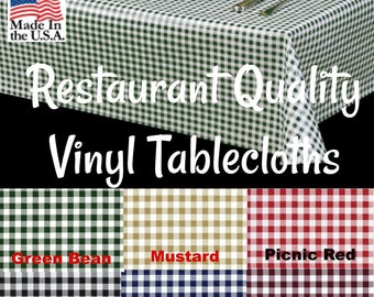 Vinyl Tablecloths   9828 Commercial Grade Vinyl Tablecloth   Restaurant  Tablecloth  Gingham Vinyl  Outdoor