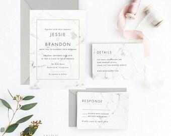 Modern Wedding Invitation Suite, Wedding Invitation Printable, Invitation Set, Wedding Invitation Rustic, PDF Letter or A4 (Item code: P374)