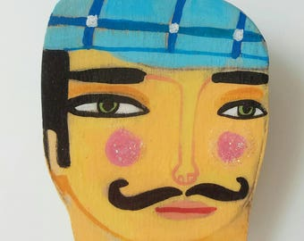 Painted man brooch , wooden painted . hipster man with checkered hat and mustash brooch