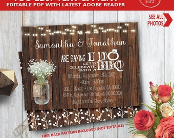I do BBQ Invitation wood rustic couples shower engagement party invite YOU EDIT text and print yourself invite 14065