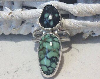 Two beautiful Snowville Variscite Stones set in Sterling Silver, Fits size   8.0 to 8.25