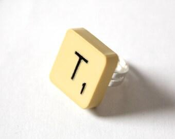 Scrabble tile ring