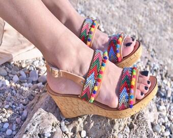 bohemian sandals, greek sandals, platform sandals, cork shoes, greek sandals, hippie clothing, boho style, summer shoes, leather sandals