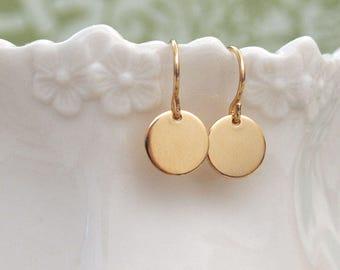 dainty everyday wear, simple gold filled disk charm earrings, minimalist, everyday wear gold earrings,