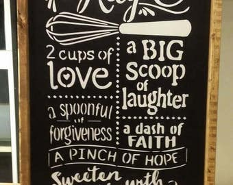 Our Family Recipe Sign / Wooden Wall Sign / Kitchen Wall Decor / Gift .