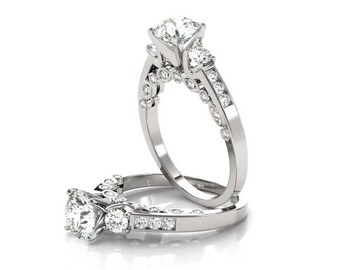 Three Stone Forever Brilliant Moissanite & Diamond Swing Engagement Ring