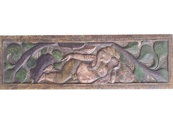 India Artisan Carving Wall Hanging Vintage Hand Carved Reclining Ganesha Under Tree Headboard Bohemian Decor