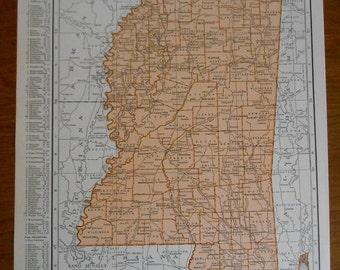 Old Mississippi Map, 1930s Vintage US State atlas Map