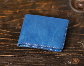 Natural Leather Wallet Leather Bifold Mens Bifold Wallet Indigo Leather Wallet Indigo Dip Dyed wallet Handmade wallet