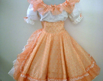 Vintage 70s PEACH Organza Square Dance Dress with White Lace Inset - Orange - ish Peach Swing Dress with Circle Skirt - Size Medium 12