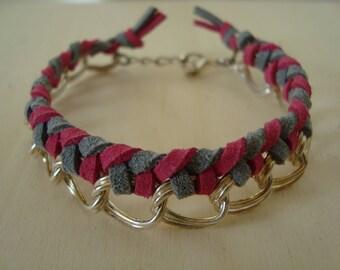 Bracelet fuschia and grey, braided chain