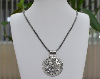 Sterling Silver Ethnic Tribal Necklace - Disc Tribal Silver Necklace - Thai Tribe Necklace- Handmade 925 Silver Necklace - PCN20