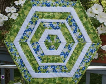 Quilted Table Topper, Green & Blue Table Topper, Hexagon Table Topper, Morning Glories Table Topper, Hostess Gift, Teacher Gift