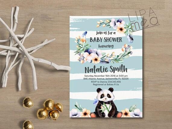 Boy baby shower invitation panda baby shower invitation bear like this item filmwisefo Image collections