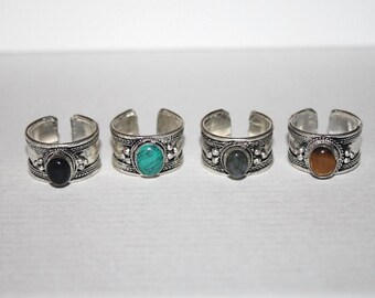 Turquoise ring, black onyx Ring, Labradorite Ring, Tiger Eye Ring, Boho Ring, Silver Ring, Tribal Ring, Adjustable Ring, Gypsy Ring AR2