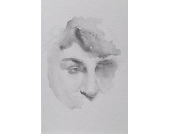 Head - 5.5 x 8.5, graphite/wash on paper