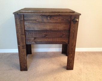 Dark Walnut Wood Cooler Stand/ no shelf