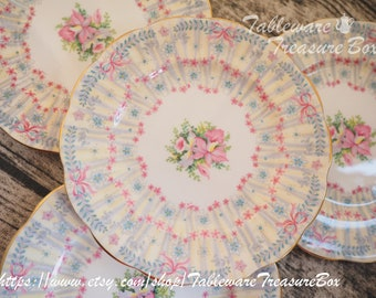 Queen Anne Royal Bridal Gown pink ribbon bows lace bread side plate