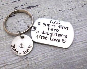 Personalized Dad Keychain, Personalized Dad Gift, Dad Gift, Dad Keychain, Dad My Hero, Personalized Keychain, Father's Day Keychain, Dad