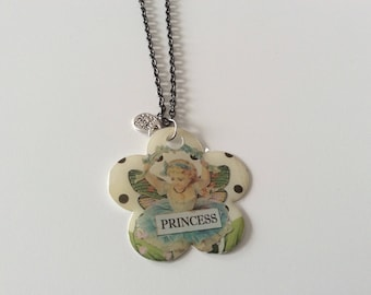 Flower girl princess Butterfly long necklace