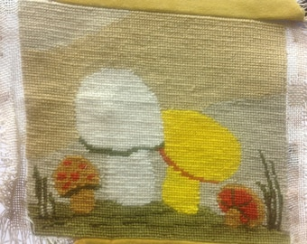 Little Field of Mushrooms Needlepoint - Finished Needlepoint Canvas
