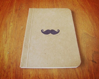 Mustache Notebook, Pocket Journal, Original Handmade Mini Diary and Jotter, Her Inspired Movie Notebook, Stamp Illustration