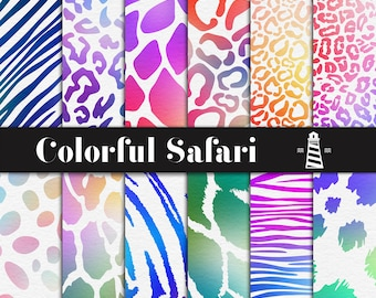 Color Explosion Digital Paper, Animal Print Digital Paper, Rainbow Safari Papers, Animal Patterns, Color Explosion Backgrounds, BUY5FOR8