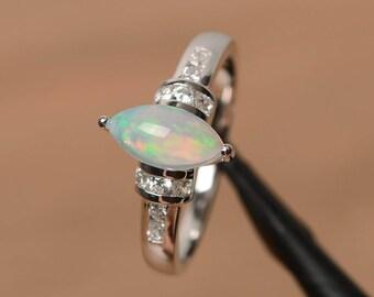 Opal Verlobungsring natürlichen weißen Opal Ring Oktober Geburtsstein Marquise geschnitten Edelstein Sterling Silberring