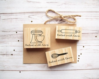 Baked with Love Stamp Stand Up Mixer, Whisk, or Rolling Pin, Baked with Love, Baked Goods, Food Packaging