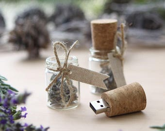 Glass Message in a Bottle USB Flash Drive with Lavender - Cork USB Drive