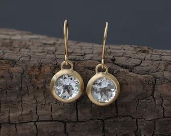 18k Gold White Topaz Drop Earrings - White Topaz Gold Earrings - White Gem Round Gold Earrings  Bridal Wear Gold Drop Earrings FREE SHIPPING