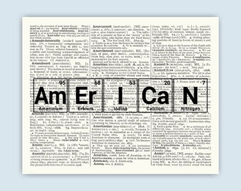 Periodic table word etsy periodic table american art words made from elements periodic table dictionary page art urtaz Images