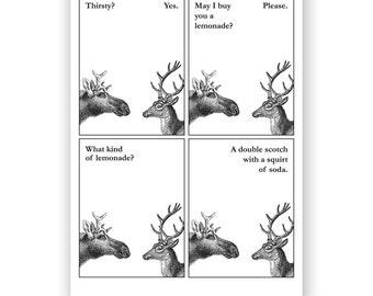 Thirsty for Lemonade Moose - Blank Card