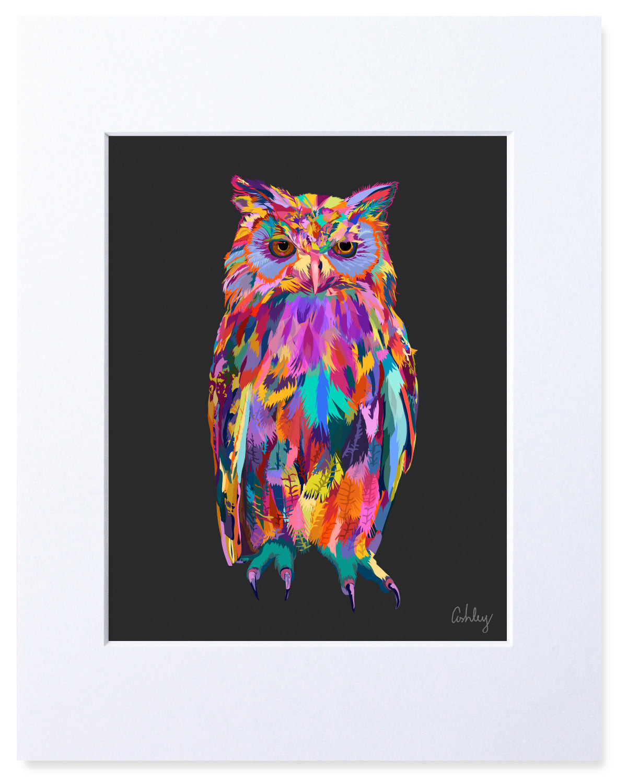Multicolored Owl Bird Digital Watercolor Print Illustration
