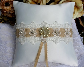 Satin Ring Bearer Pillow - Vintage Wedding Decor - Ceremony Accessories - Wedding Gift
