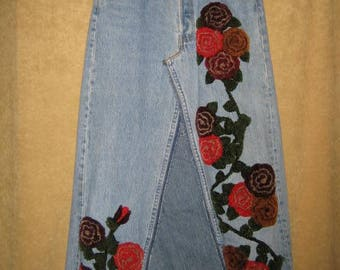 Levis Maxi Skirt Embroidered Vintage